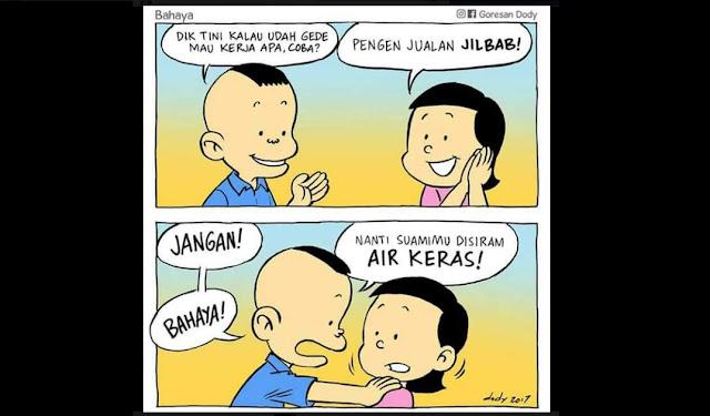 Beredar Meme Menohok Soal Korelasi Jualan Jilbab dan Suami Disiram Air Keras