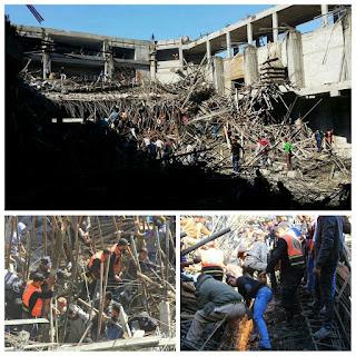 Gedung Baru Universitas Alaqsa Gaza Ambruk, Para Tukang Tertimbun Besi Material