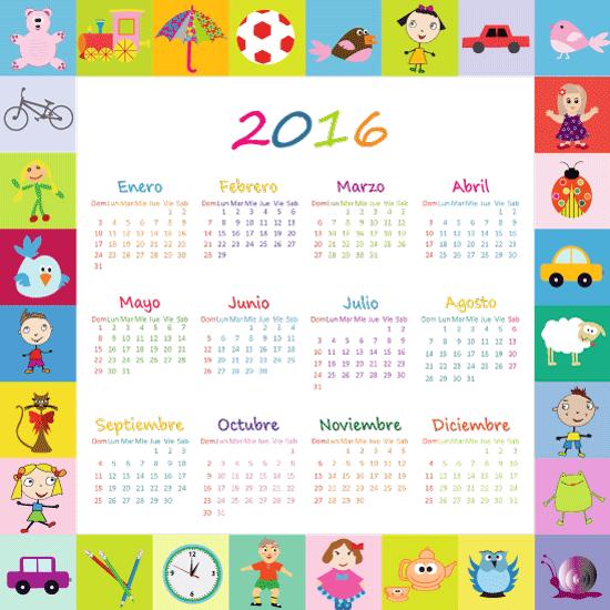 Calendario 2016 Infantil en español y editable
