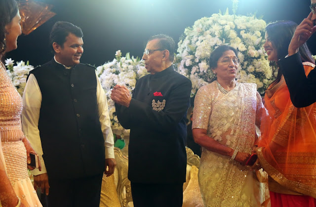 Chief Minister Devendra Fadnavis & Shiv Sena Chief Uddhav Thackerey attends the grand celebration of 50th Marriage anniversary of Runwal Group's Chairman, Subhash Runwal and his wife Chanda Runwal