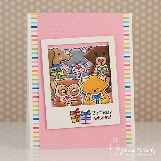 Birthday Critters Polaroid Card by Juliana Michaels | Sending Hugs Stamp Set by Newton's Nook Designs #newtonsnook #handmade