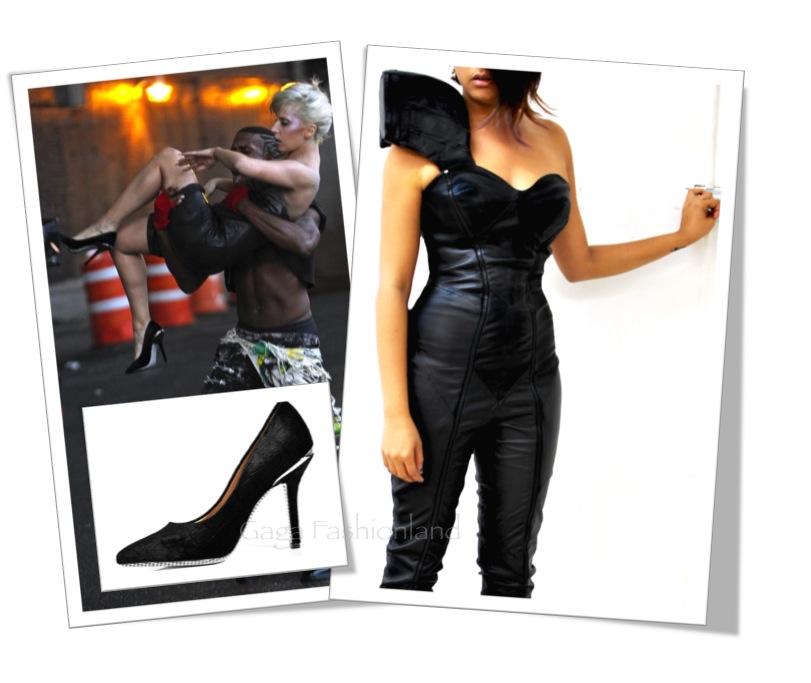 dbeee28848513 Lady Gaga in Asher Levine and Salvatore Ferragamo