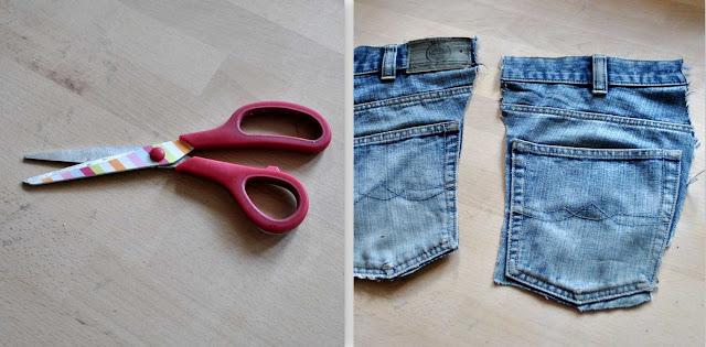 Schere und Jeanstaschen für Pflanzentäschchen
