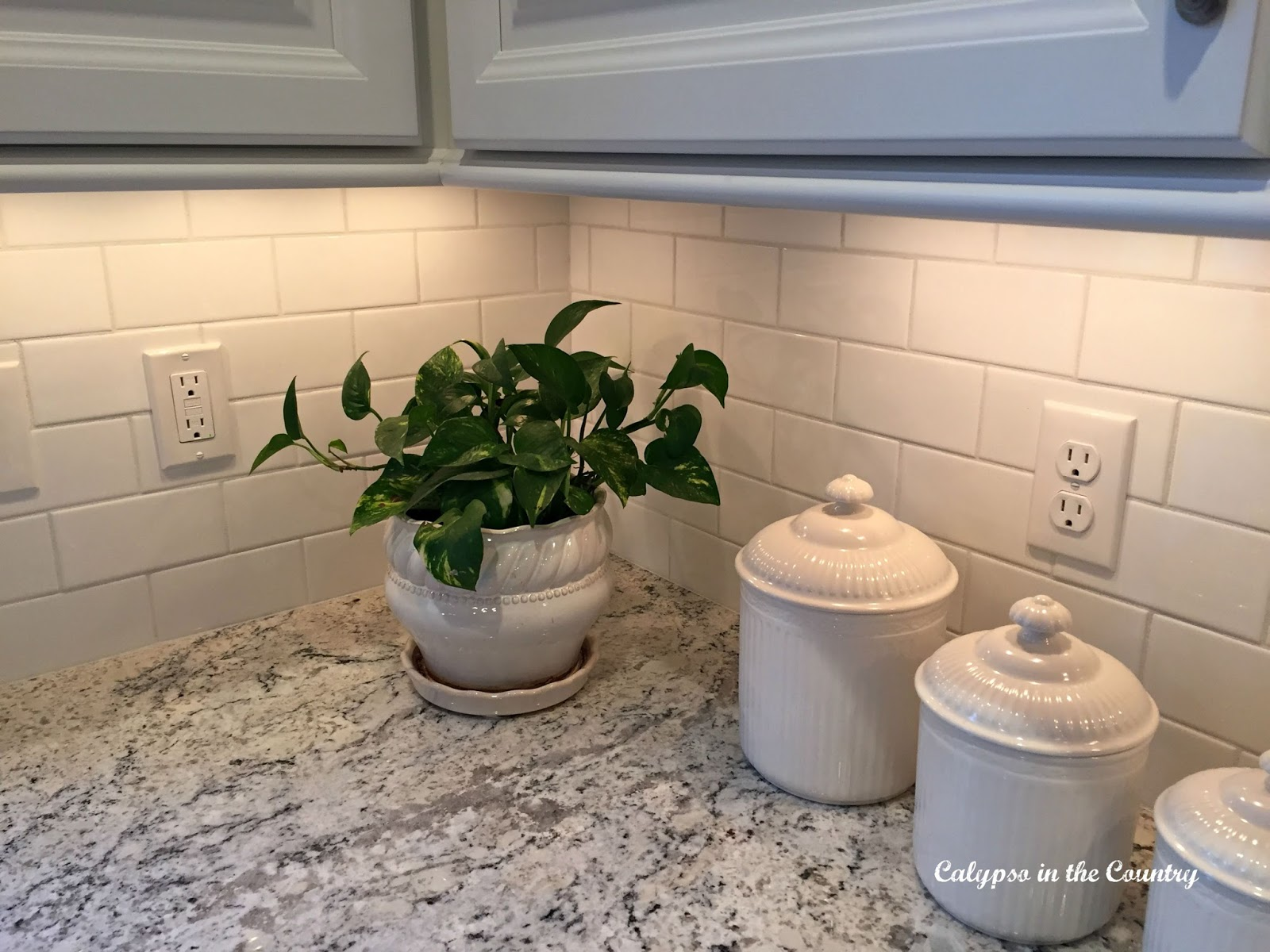 White Ice Granite and undercabinet lighting