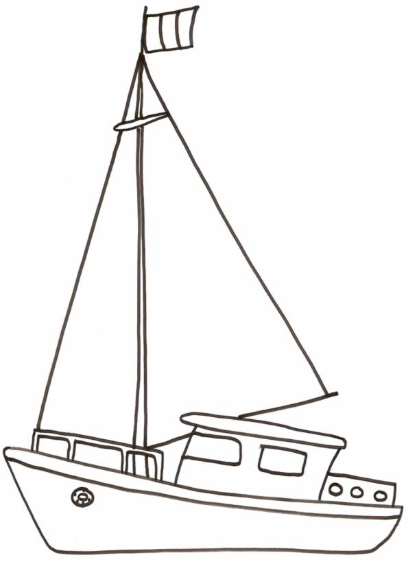 Lujoso Barco Simple Para Colorear Festooning - Dibujos Para Colorear ...