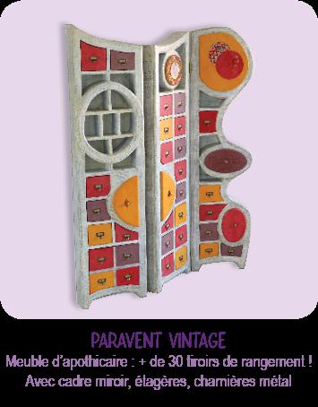 Meuble d'apothicaire en carton, paravent vintage coloré, Plus de 30 tiroirs, cadre miroir par l'atelier Cartons Dudulle