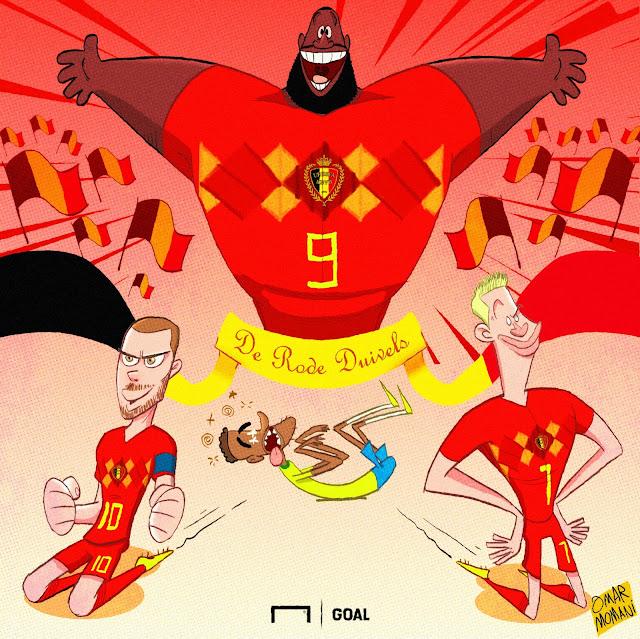 Romelu Lukaku, Kevin De Bruyne, Hazard, Neymar illustration