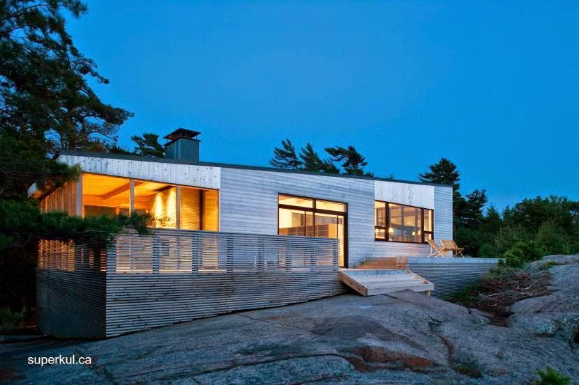 Cabaña contemporánea de madera en una isla de Ontario