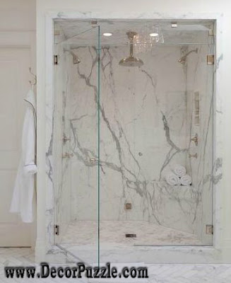 shower tile ideas, shower tile designs, tiling a shower, white granit shower tile