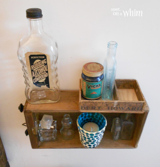 Vintage Alcohol and Vicks Jars on Salvaged Drawer Shelf | Vintage Farmhouse Bathroom Makeover | Denise on a Whim