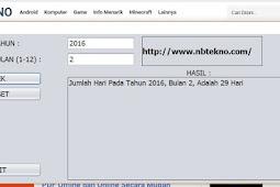 Menentukan Jumlah Hari di Tahun Kabisat dan Bukan Kabisat Menggunakan Java NetBeans(Jumlah Hari Dalam Bulan di Tahun Kabisat/Bukan Kabisat Java NetBeans)