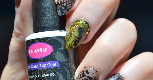 DIY Manicure- Golden Accent Black Lace Nails