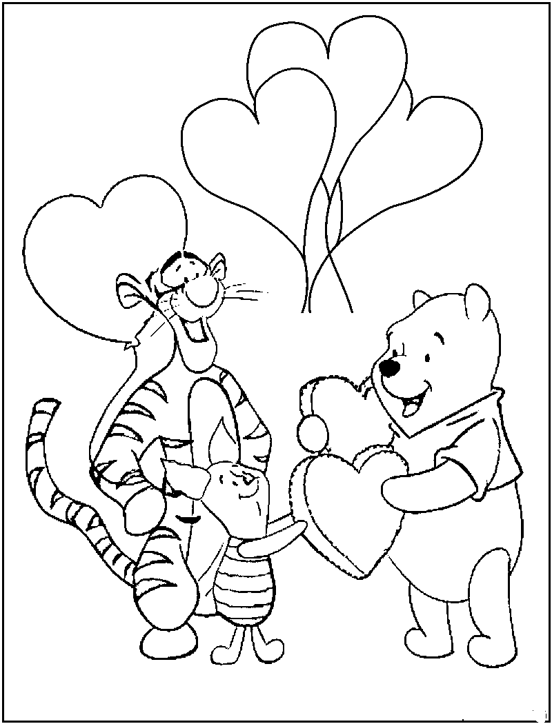 Pooh valentine coloring pages - Pooh