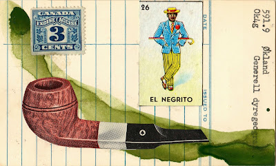library due date racist loteria el negrito tobacco pipe Canadian Excise tax stamp Dada Fluxus mail art collage