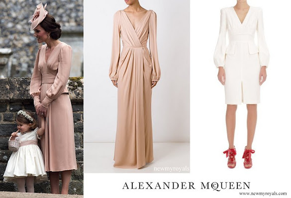 Kate Middleton wore ALEXANDER MCQUEEN Ruched Wrap Long Dress