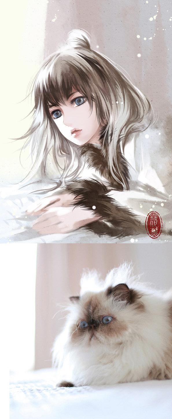 Kot narysowany jako kobieta z anime 15