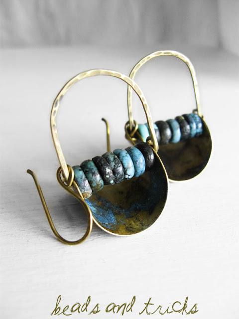 orecchini ottone turchese