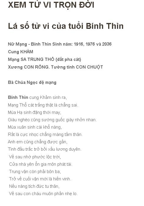Tu Vi Tron Doi 1976 Binh Thin