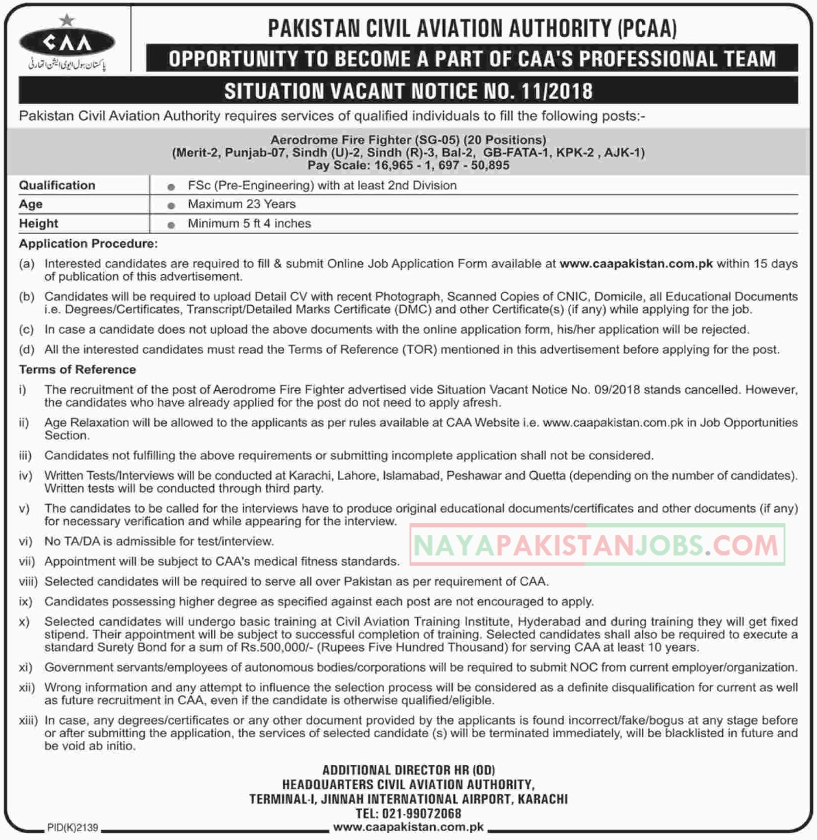 Latest Vacancies Announced in CCA Pakistan Civil Aviation Authority for Aerodrome Fire Fighter 4 December 2018 - Naya Pakistan