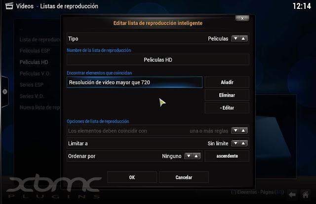 ajustes de lista de reproducción en KODI