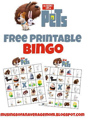 Secret Life of Pets Free Printable Bingo