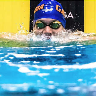 Swimmer Caeleb Dressel after setting American and NCAA records in the 100 freestyle at the NCAA Swimming Championships