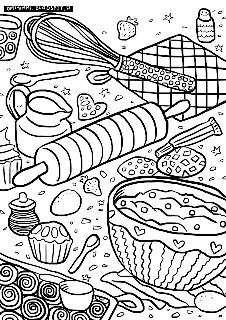 A coloring page of baking / Värityskuva leipomisesta