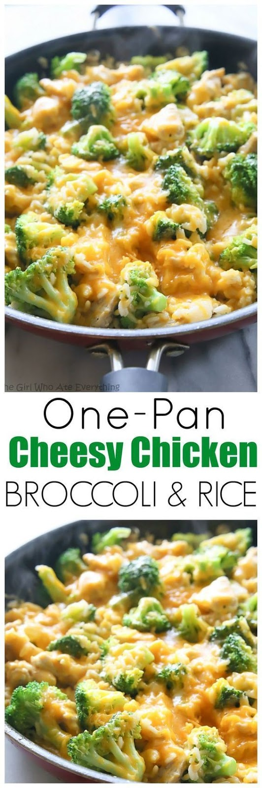 One-Pan Cheesy Chícken, Broccolí, And Ríce