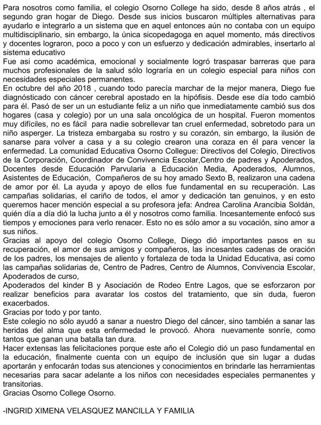Carta de agradecimiento al colegio Osorno College