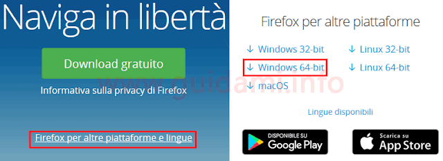 Firefox pagina di download versione 64 bit