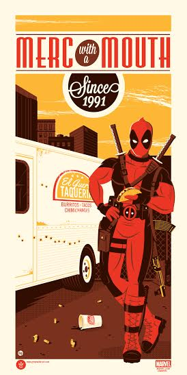 "Deadpool ""Merc with a Mouth Since 1991"" Marvel Screen Print by Dave Perillo x Grey Matter Art"