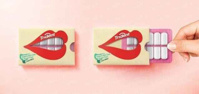 embalagem criativa da trident em formato de dente