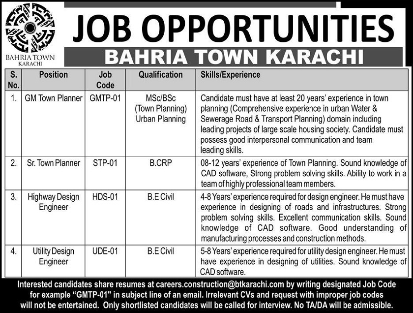 Jobs in Sindh, Jobs in Karachi, Latest Jobs in Pakistan, Jobs for Civil Engineers in Bahria Town, Town Planner Jobs in Pakistan, Town Planning Jobs in Pakistan