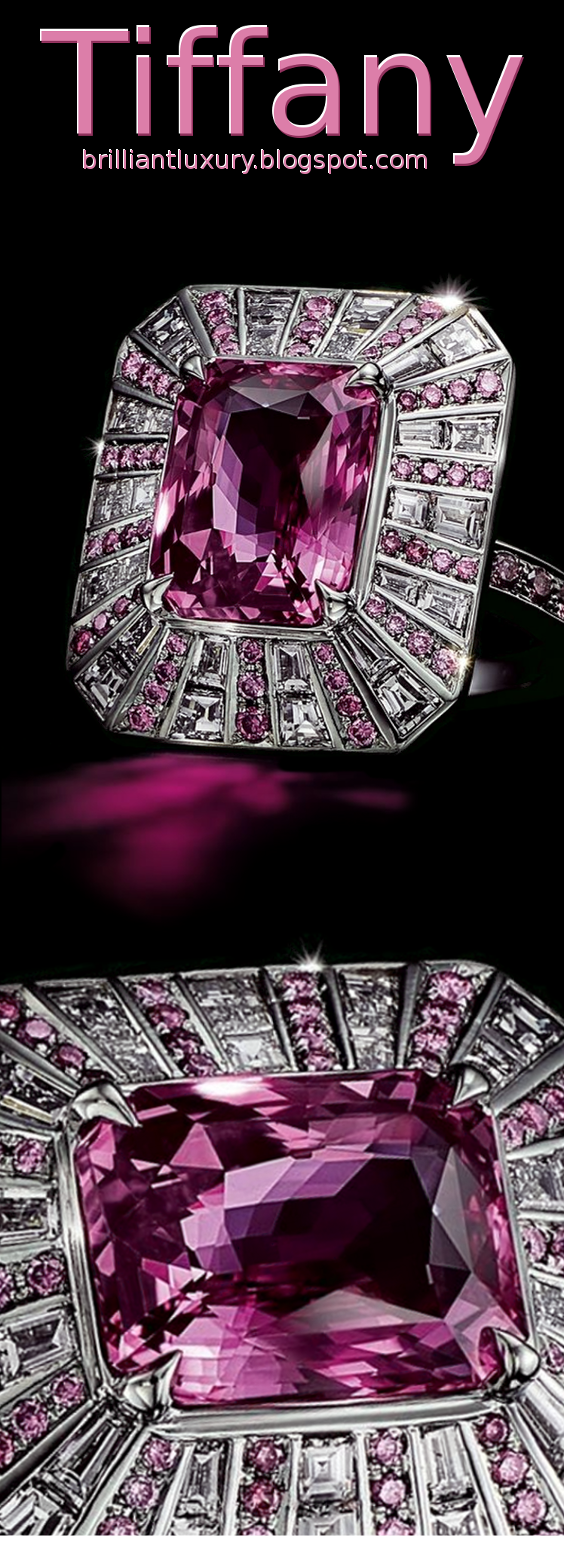 Brilliant Luxury ♦ Tiffany platinium pink sapphire & diamond ring