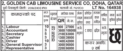 Jobs For Nepali In Qatar, Salary -Rs.10,8,000/