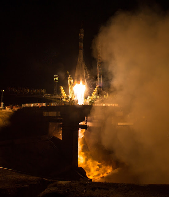 The Soyuz TMA-20M rocket launches from the Baikonur Cosmodrome in Kazakhstan on Saturday, March 19, 2016 carrying Expedition 47 Soyuz Commander Alexey Ovchinin of Roscosmos, Flight Engineer Jeff Williams of NASA, and Flight Engineer Oleg Skripochka of Roscosmos into orbit to begin their five and a half month mission on the International Space Station. (Photo Credit: NASA/Aubrey Gemignani)