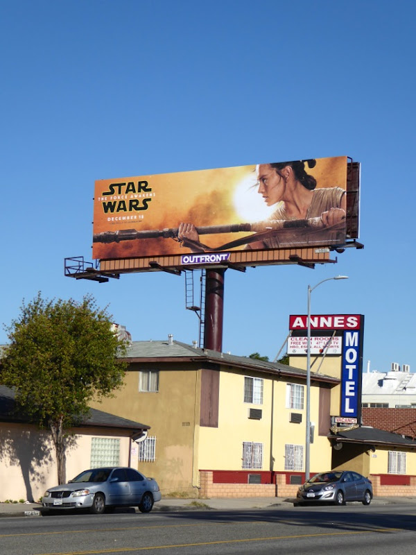 Rey Star Wars Force Awakens billboard