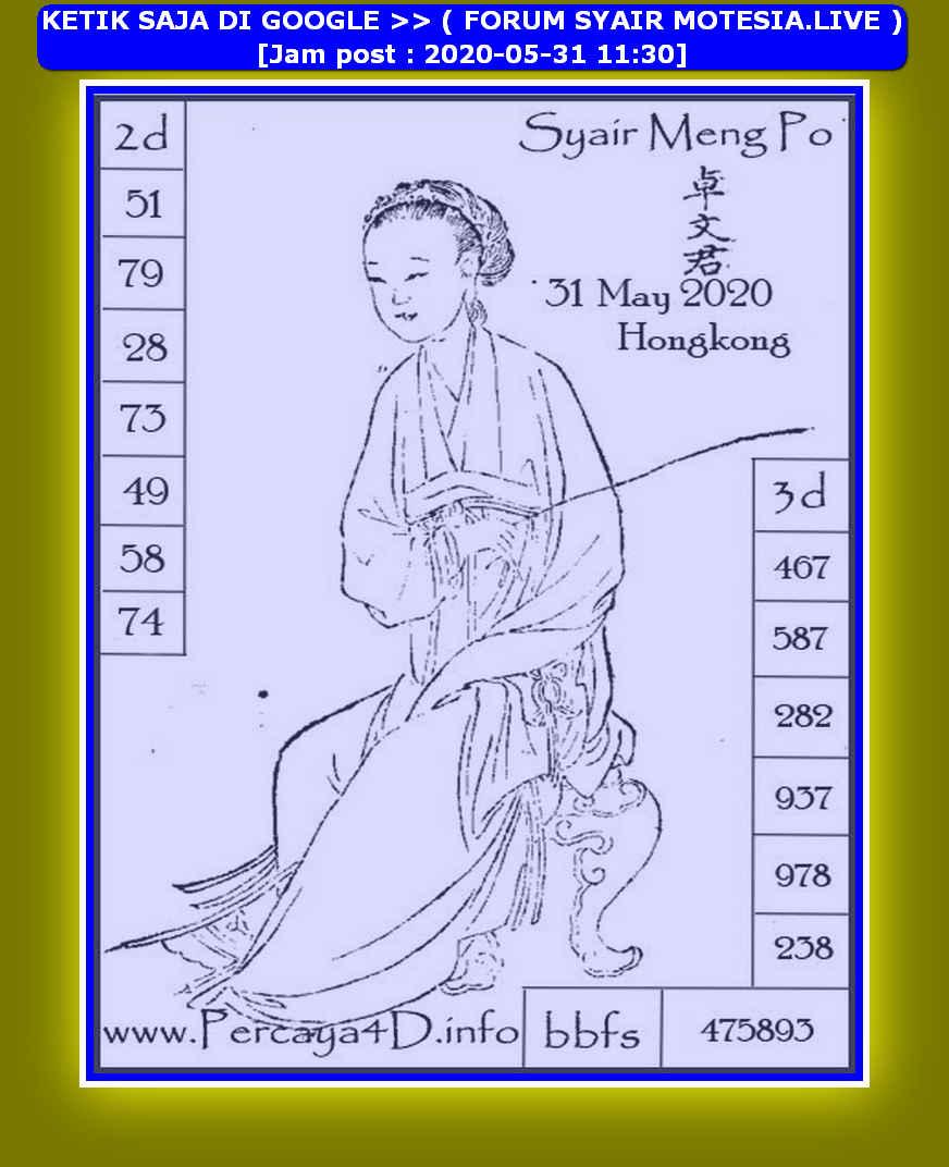 Kode syair Hongkong Minggu 31 Mei 2020 208