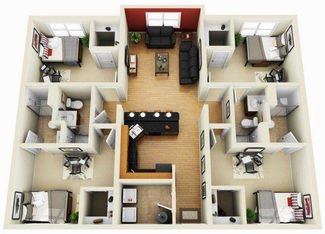 Denah Rumah 1 Lantai 4 Kamar Tidur Desain Minimalis