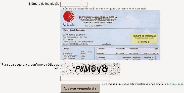 Painel de login para consulta a 2 via CEEE e imprimir