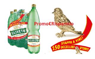 Logo Acqua Uliveto : Stappa e vinci 150 uccellini d'oro