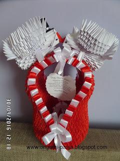 Kosz z gołębiami - origami 3d, modułowe.