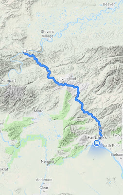Map of the trip from Fairbanks to Yukon River bridge in Dalton Highway