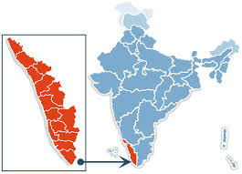 India map with Kerala state highlighted.