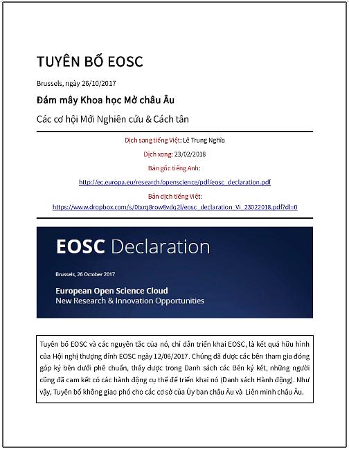 'Tuyên bố EOSC' - bản dịch sang tiếng Việt