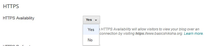 HTTPS availability in blogger