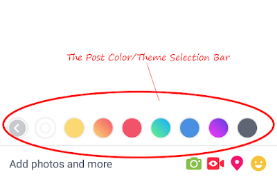 The Post Color/Theme Selection Bar - Facebook App