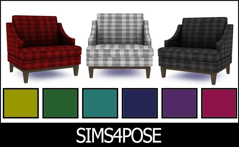 Download Sims 4 Pose: Hamptons Hideaway Armchair Plaid {Living Room Chair}