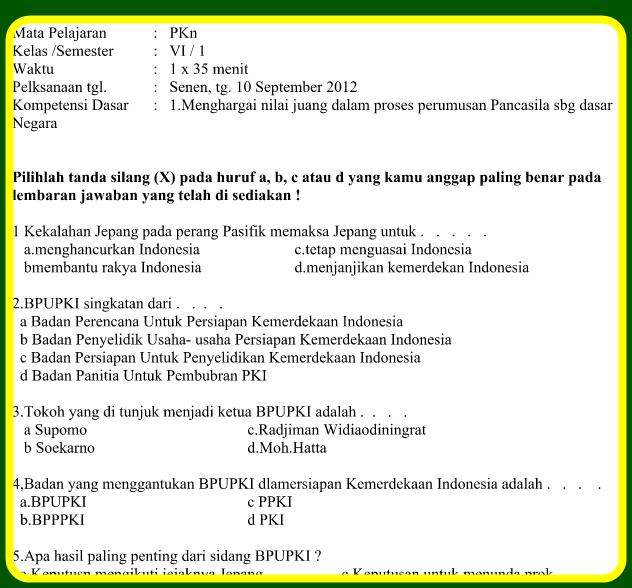Download Kumpulan Soal-Soal SD Kelas 1 Sampai 6 Dengan Mapel PKN,Bhs Indonesia,Matematika