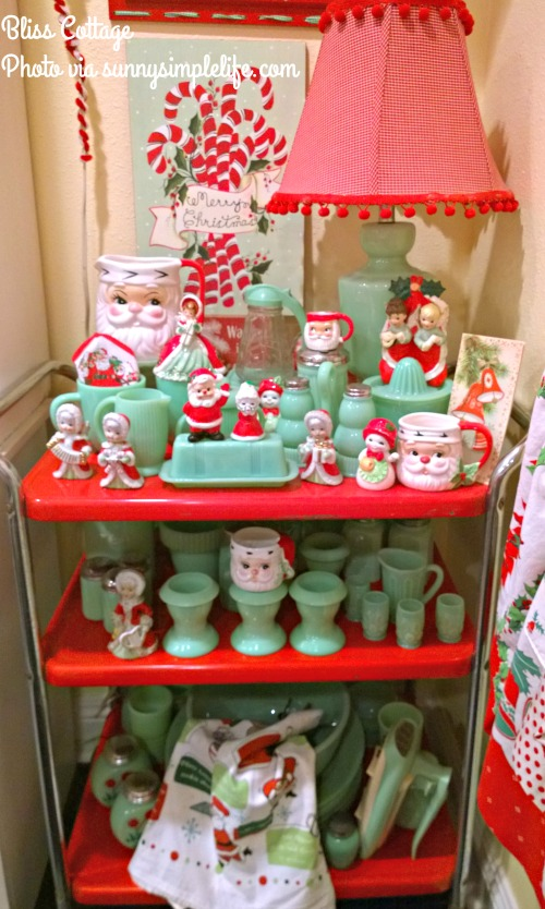 Christmas jadeite, jadeite collection, vintage red cart